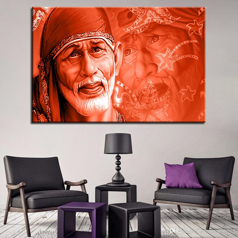 Canvas Painting For Living Room Wall Art Framework 1 Piece Sai Baba Pictures HD Prints India Lord God Abstract Poster Home Decor