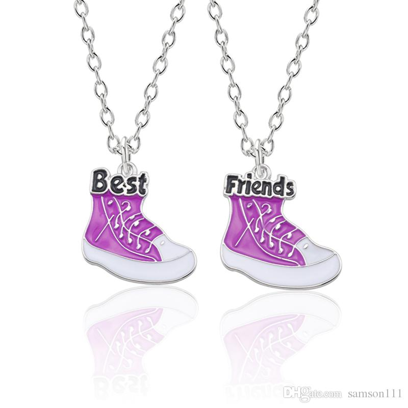 2pcs Bff Basketball Shoes Pendant Necklace Women Best Friends Friendship Necklaces Fashion Christmas Jewelry Gifts Bijoux Femme