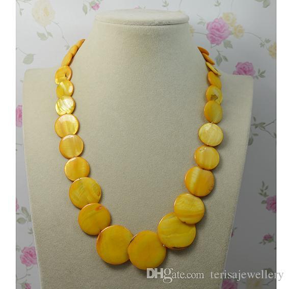 Monili della festa nuziale della signora di modo della collana naturale rotonda di colore giallo delle coperture, collana del regalo della donna Nuovo trasporto libero