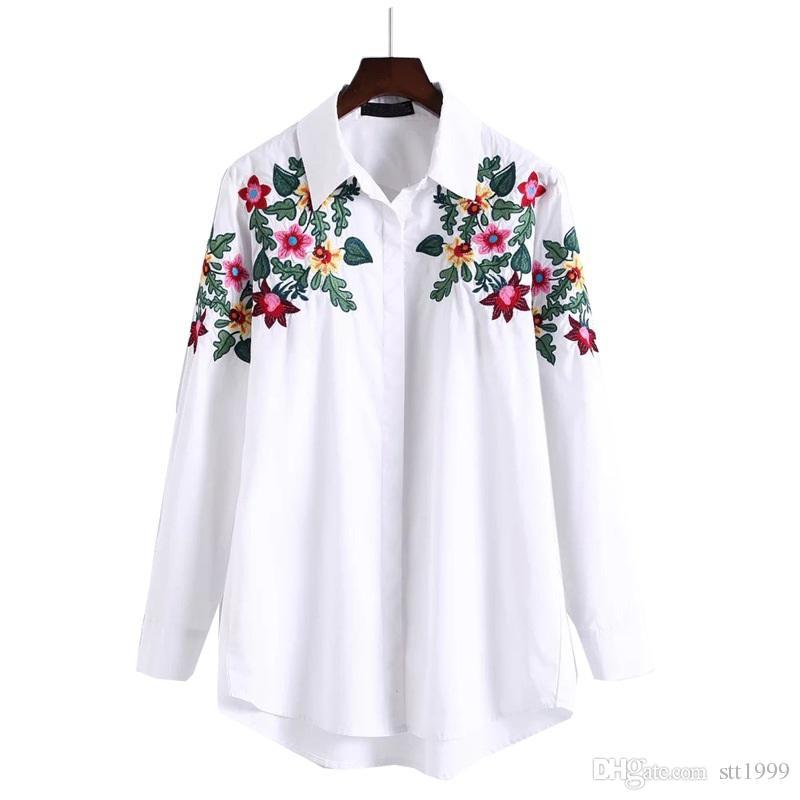 Женское пальто, рубашка с длинными рукавами, вышитый воротник, вышитая рубашка.