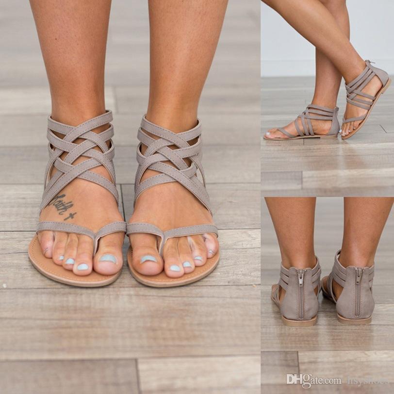 여성 중공 캐주얼 로마 스타일 Sandalias 여성 플러스 사이즈 34 ~ 43 개 여름 샌들 플랫 새로운 패션 신발