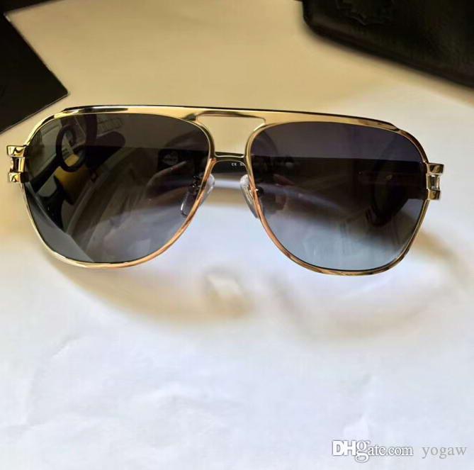 Silber Holz Pilot Sonnenbrille Grau schattierte Herren Designer Sonnenbrillen occhiali da sole neu mit Kasten