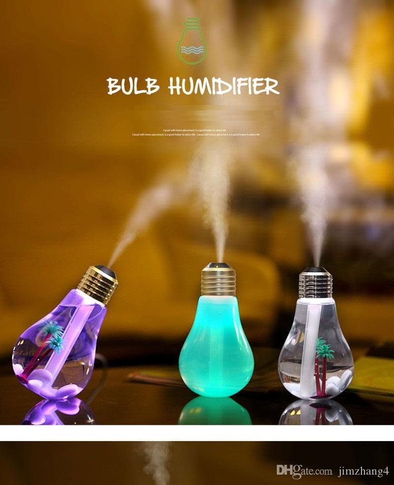 PB01-2, USB ultrasonik nemlendirici ev ofis Mini aromaterapi renkli LED gece ampul aromaterapi atomizer yaratıcı bott