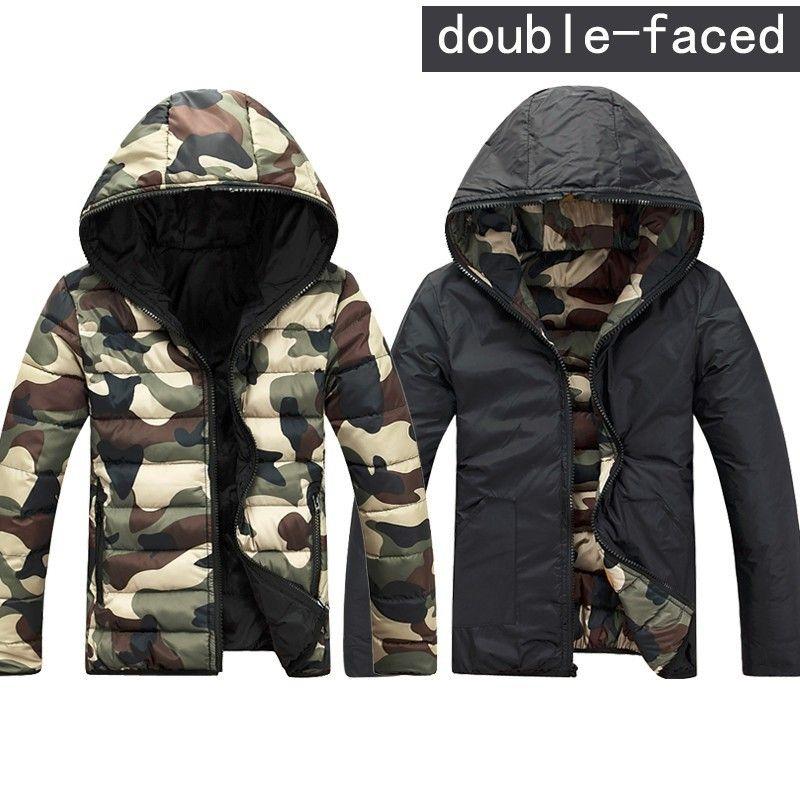 Wholesale-Mens Camouflage Giacche Invernali Felpe reversibili Double Sided Abbigliamento Slim Giacche con cappuccio Cappotti Army Green / Rosso / Blu 3XL