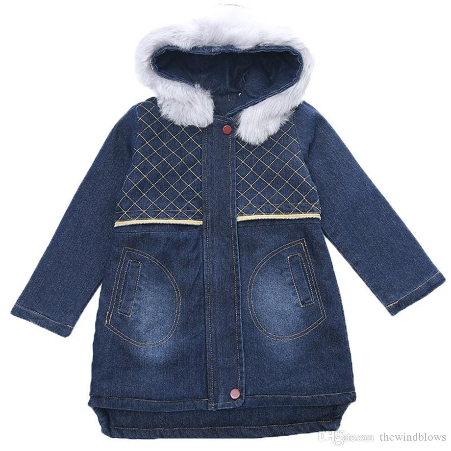 Girls Jackets Denim Long Jacket Girl With Fur Hooded Children Outerwear Winter Children'S Costumes For Girls 6 8 10 12 13 Year