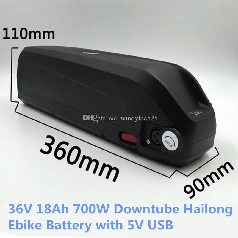 Nueva batería de la bici de tiburón Hailong batería de 36V 18AH 750W eléctrica de la batería de litio Downtube con el puerto USB de 5V UPS FEDEX TNT libera la nave