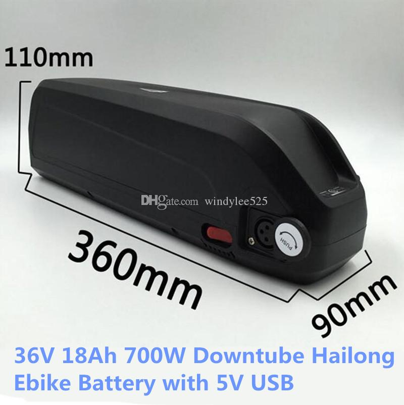 Shark New Hailong Batterie 36V 18AH 750W elektrische Fahrradbatterie Downtube Lithium-Batterie mit 5V USB-Port UPS FEDEX TNT geben Schiff frei