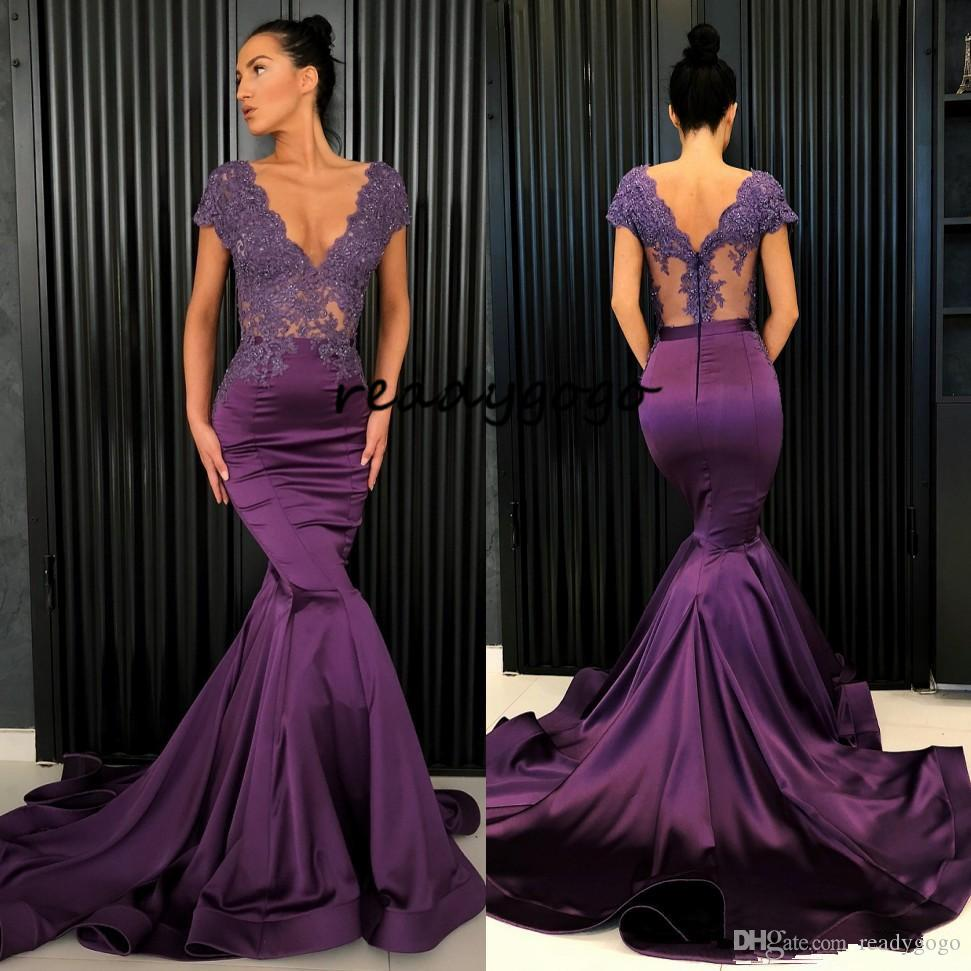 Purple Beaded Mermaid Lace Evening Dresses V Neck See Through Back Prom Gowns Vestidos De Fiesta Sweep Train Satin Plus Size Formal Dress