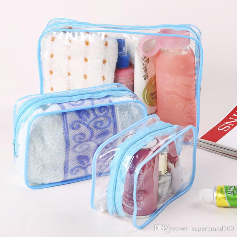 Maquillaje Caja de PVC 3 unids / Set Mujeres Hacer bolsos de cremallera claros Organizador de cosméticos Transparente Lavado de baño Travel Bolsas Bolsas Bolsas Uplga