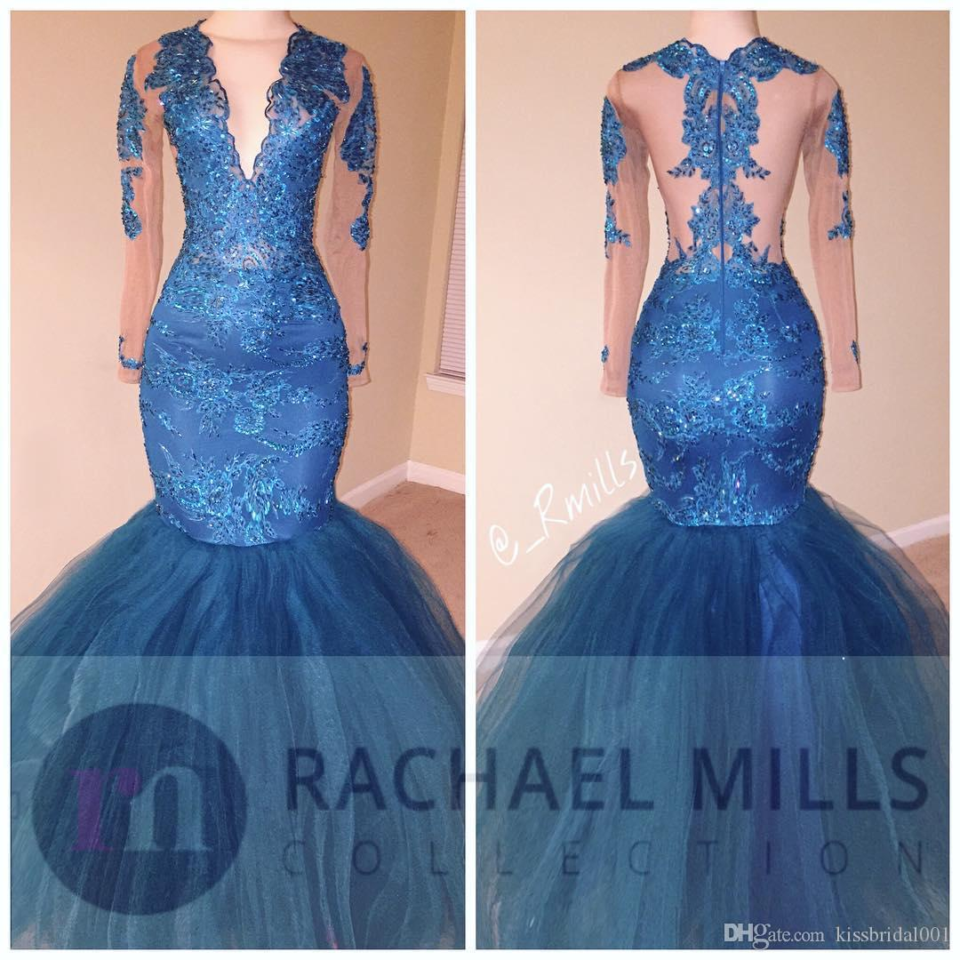 2k17 prom kleider royal blue lace mermaid formale abendkleider illusion jewel neck langen ärmeln schwarz mädchen mädchen festzug kleid