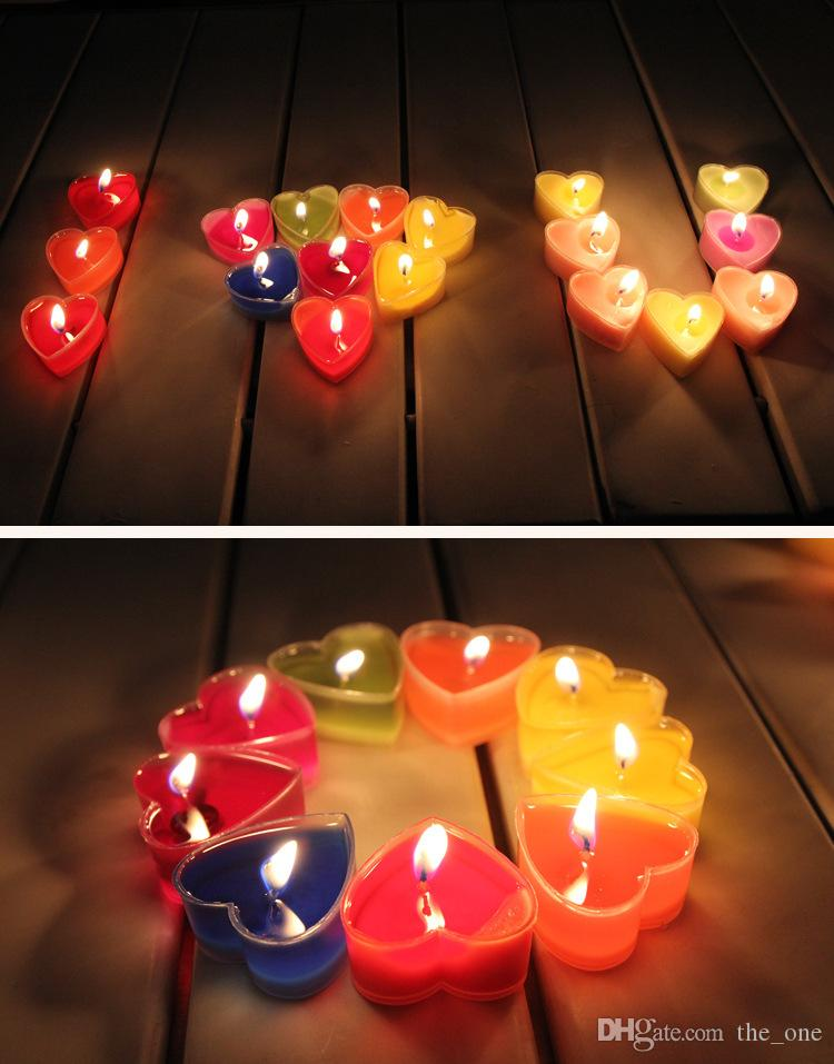 Creative Valentine's Day Exquisite PVC Boxed Heart-shaped Jelly Aromatherapy Candles Fragrance Romantic Proposal Tea Wax Wedding Decorating