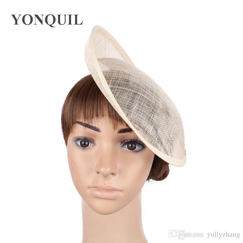 """2018 10 """"/ 25CM Nature couleur fascinateur base mariage royal ascot fête Sinamay fascinator chapeaux base bricolage cheveux accessoires 12pcs / lot SYB27"""