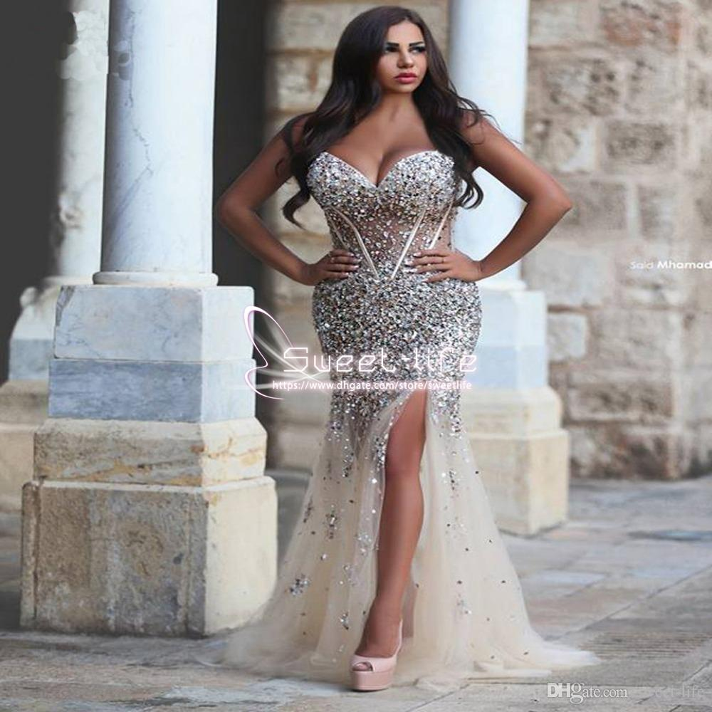2018 Luxury Crystal Mermaid Evening Dresses Sweetheart Split Side Corset Beaded Plus Size Illusion Champagne Women Custom Made Prom Dresses