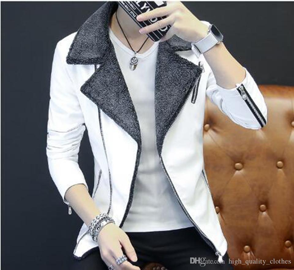 Mode de loisirs d'automne et d'hiver en Europe et la nouvelle tendance de la version coréenne de la veste en fourrure col de fourrure d'agneau pour hommes / M-2XL