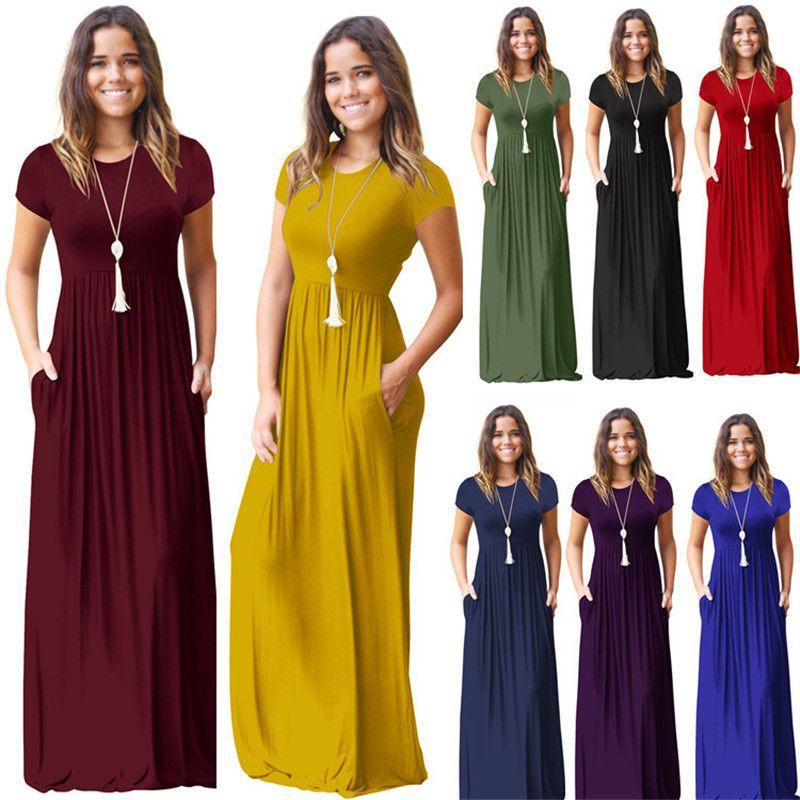 أزياء المرأة الصيف الطابق الجيب طول حزب فساتين النساء اللباس عارضة قصيرة الأكمام الرقبة يا الصلبة فستان ماكسي أنثى