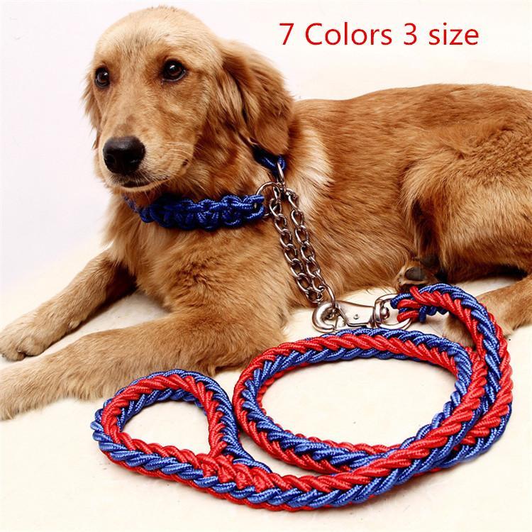 7 Farben Doppel Pet Leine Leinen Hundehalsbänder Durable Nylon Weben Zugseil Mit Legierung Schnalle Weichen Griff Hund Robuste Leinen 130 cm