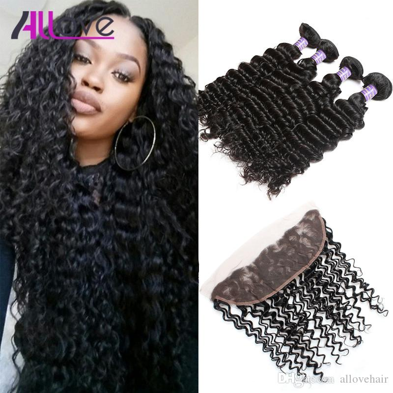 Allove Wholesale 8A Brazilian Deep Wave 4pcs Human Hair Bundles With 13x4 Lace Frontal Closure Weaves Extensions for Women All Ages Jet Black 8-28 inch