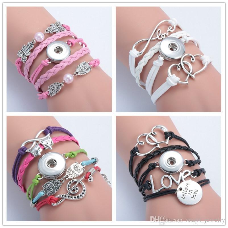 12 estilos infinito coração coruja cruz botão de pressão pulseira fit 18mm snap botões de jóias multicamadas pressão pulseira de couro pu declaração pulseiras