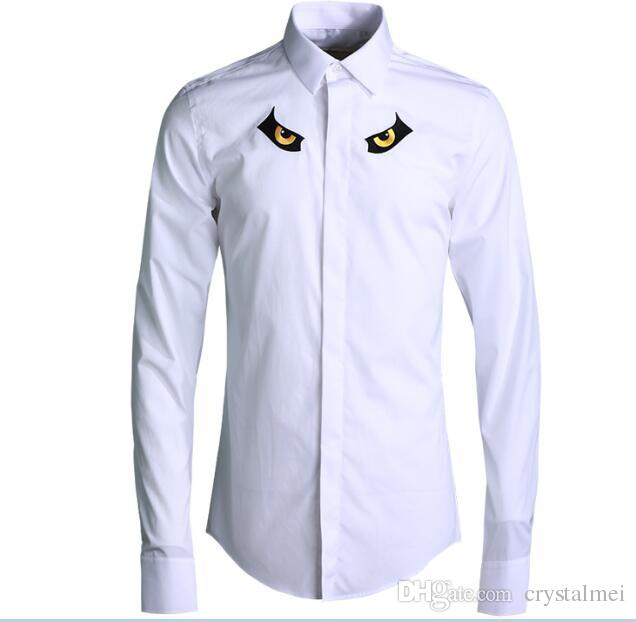 Envío gratis 2018 recién llegado de primavera original clásico bordado Owl Eye Style diseño de moda para hombre de negocios informal camisa de manga larga caliente