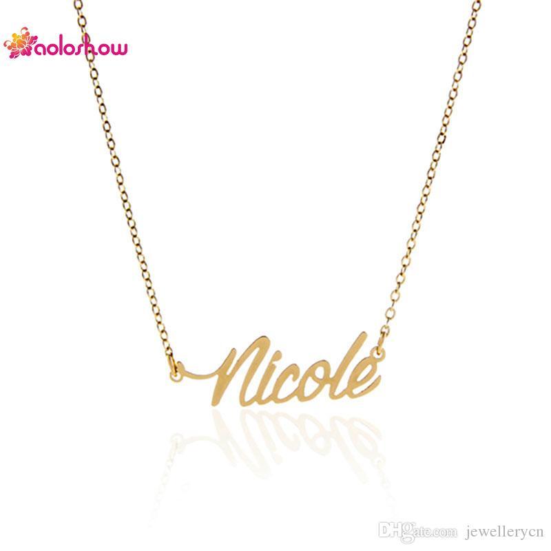 """عرف اسم شخصية قلادة المرأة الأزياء والمجوهرات """"نيكول"""" الفولاذ المقاوم للصدأ الذهب تخصيص قلادة لوحة قلادة ، NL-2411"""