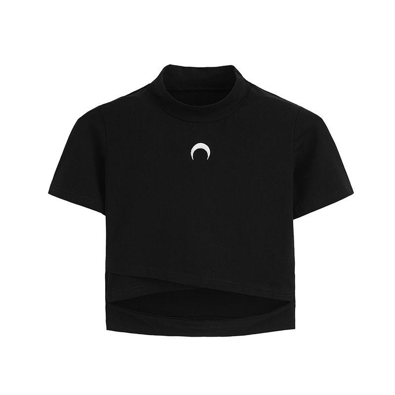 Czarownica Koszulka Koszula Kobiety Koszulki Chill Moon Topy Tee dla Gothic Girl Pastel Goth Estetyczna Odzież Coon Krótki Tshirt Hipster