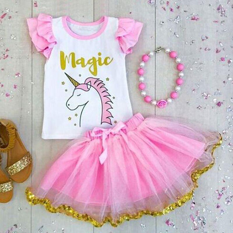 Европейский стиль дети лето одежда наборы девочка единорог печати муха рукав сверху с розовой Туту юбки 2pcs костюмы Бесплатная доставка