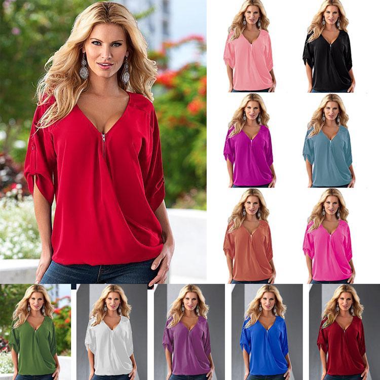 Bayan Casual Şifon Gömlek Fermuar V Yaka 3/4 Kollu Bluz Tops Manşonlu Kollu Katı Şifon Bluz Üst 12 Renk Boyutu (S-5XL)