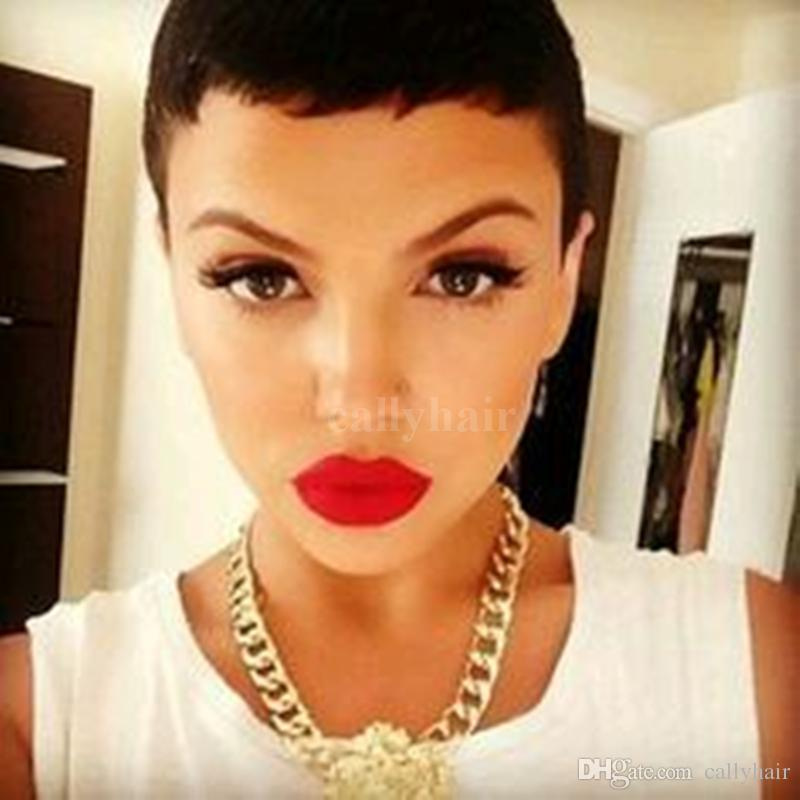 New Arrival Cheap African American Short Wigs for Black Women Short Human Hair Cut short hair style full Wig free shipping