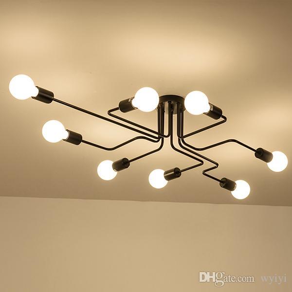 Ceiling Lights Vintage Lamps For Living Room Iluminacion Ceiling Light Wrought Iron Luminaria E27 Bulb Home Lighting Fixtures AC 85-265V