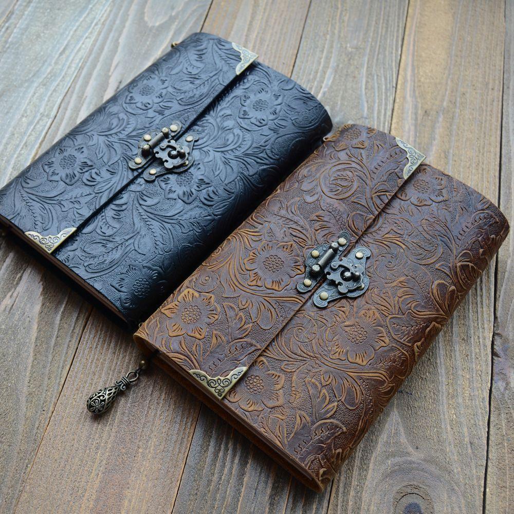 Flower Cameo Pattern Leather Notebook Notepad Journal - 100 hojas hechas a mano antiguos cuadernos de escritura diaria para hombres mujeres regalo