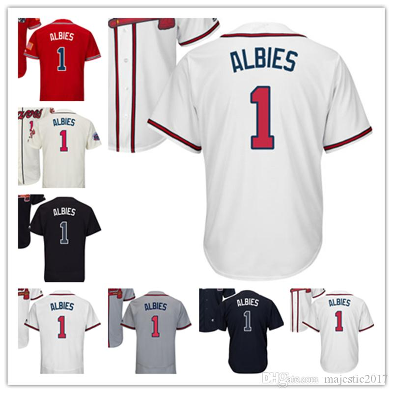 the best attitude 2db2a ac05c 2019 2018 New Men'S Atlanta #1 Ozzie Albies Jerseys Embroidery White Cream  Gray Red Blue Baseball Jerseys From Majestic2017, $20.2 | DHgate.Com