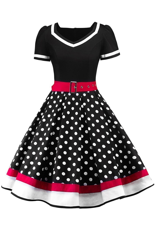 Großhandel 27 Polka Dots Vintage Frauen Rockabilly Kleider Mit Gürtel  27 Swing Retro Sommer Frauen Arbeit Kleid Casual Party Kleider Kurzen  Ärmeln
