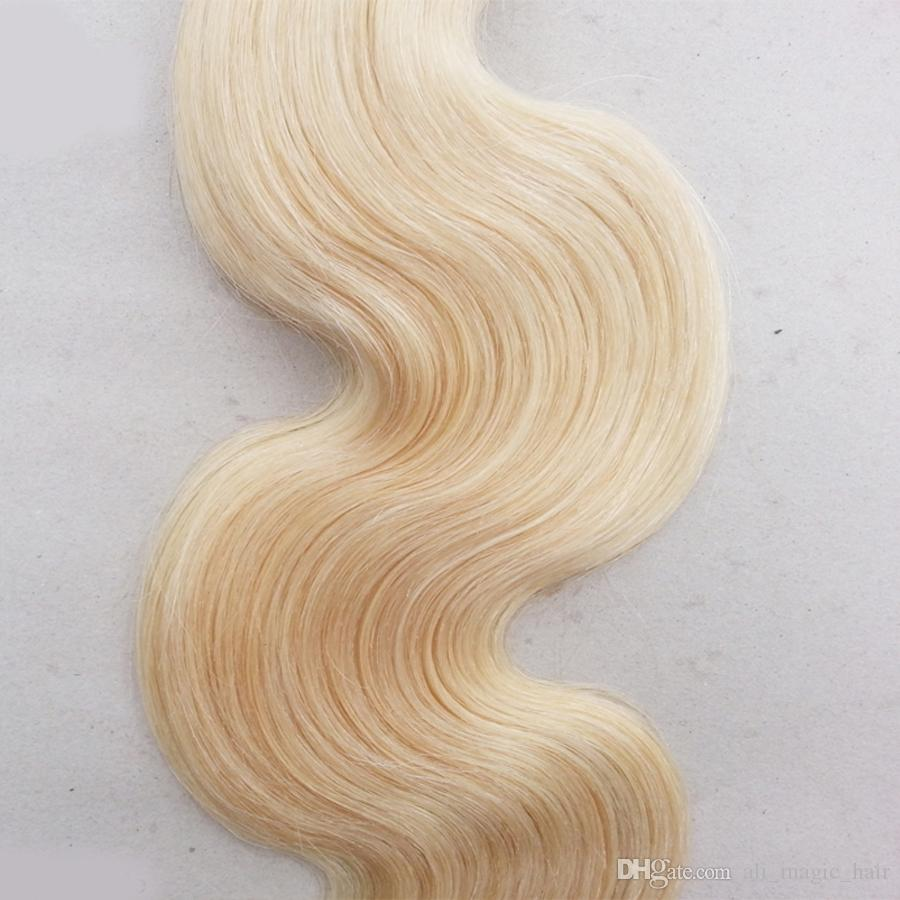 Extensions de Cheveux Humains Body Wave Weave Platinum Blonde Brésilien Malaisien Indien Péruvien Kinky Curly Weave Peut être Frisé Teint tout droit