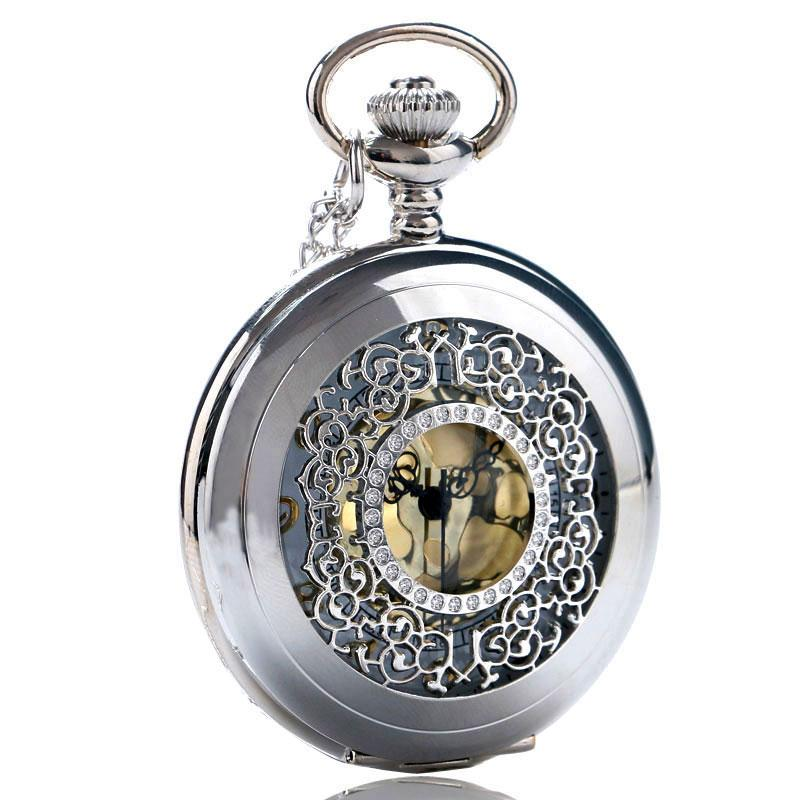 Fashion Hollow Silver Flower Pendant Quartz Pocket Watch Gold Color Arabic Number with Necklace Chain Gifts for Men Women