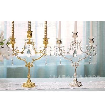 Metal 3 Brazo Candelabro Holder Wedding Party Elegante Crystal Candle Holder Bonita Mesa Centro de mesa Decoración de La Boda Oro Plata 25 CM
