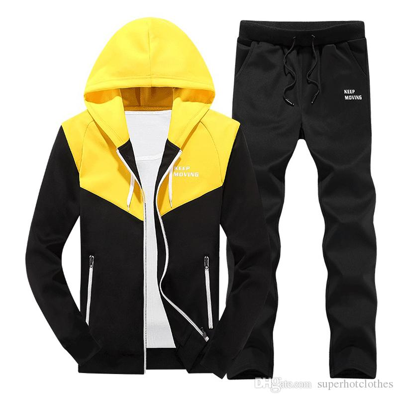 Mens Hoodies Set Autumn Two Piece Casual Tracksuit Men Hooded Jacket Pant Clothes Sportswear Trainingspak