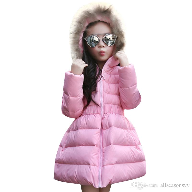 Down Jacket For Girl Fur Hooded Thick Warm Parka Down Winter Kids Clothes Cotton Children's Parkas Winter Jacket For Girls