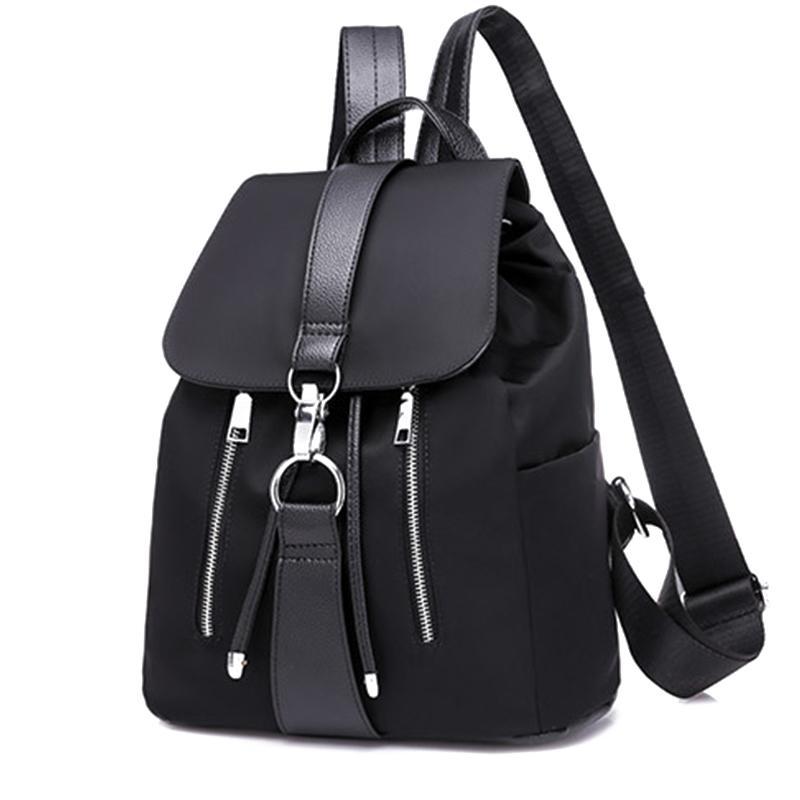 Frauen Rucksack Schultaschen Für Teenager Mädchen Nylon Reißverschluss Schloss Design Schwarz Femme Weiblichen Rucksack Mode Sac Ein Dos