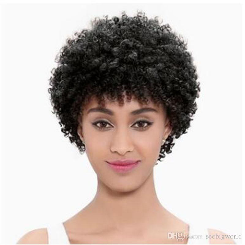 Perruque courte frisée brésilienne de cheveux d'amérique africaine Simulation de perruque frisée courte de cheveux humains en stock