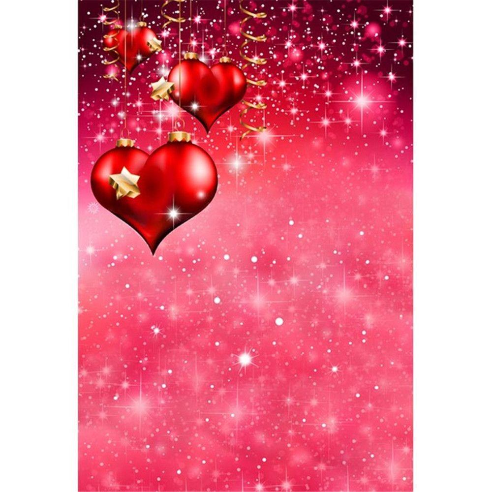 Corazones románticos de amor rojo Día de San Valentín Fotografía telones impresos Brillo Estrellas doradas Niños Niños Fondos de fotos de color rosa para Studio