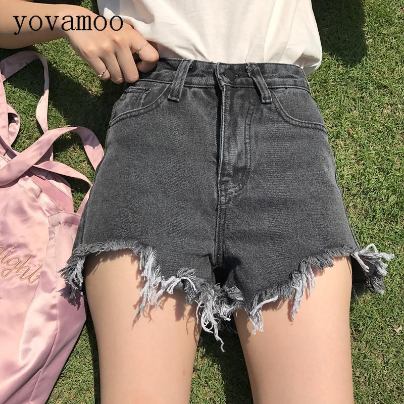 Yovamoo Denim Shorts Female 2018 Korean Chic Students High Waist Straight Irregular Slim Jean Shorts Women Summer Gray / Blue
