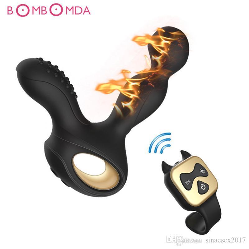 남성을위한 새로운 원격 전립선 마사지 게이 아날 엉덩이 플러그 남성을위한 남성 성 장난감을위한 USB 전립선 마사지 가열 살균기