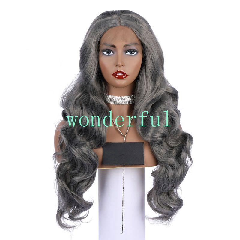 Мода кружева передние парики 18 дюймов ombre шоколад серый цвет большая волна вьющиеся женщины парики волос синтетические термостойкие волосы