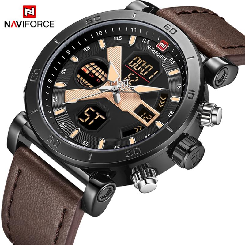 NAVIFORCE  Men's LED Analog Quartz Watch Men Army  Sport Watches Male Waterproof Date Wristwatch Relogio Masculino