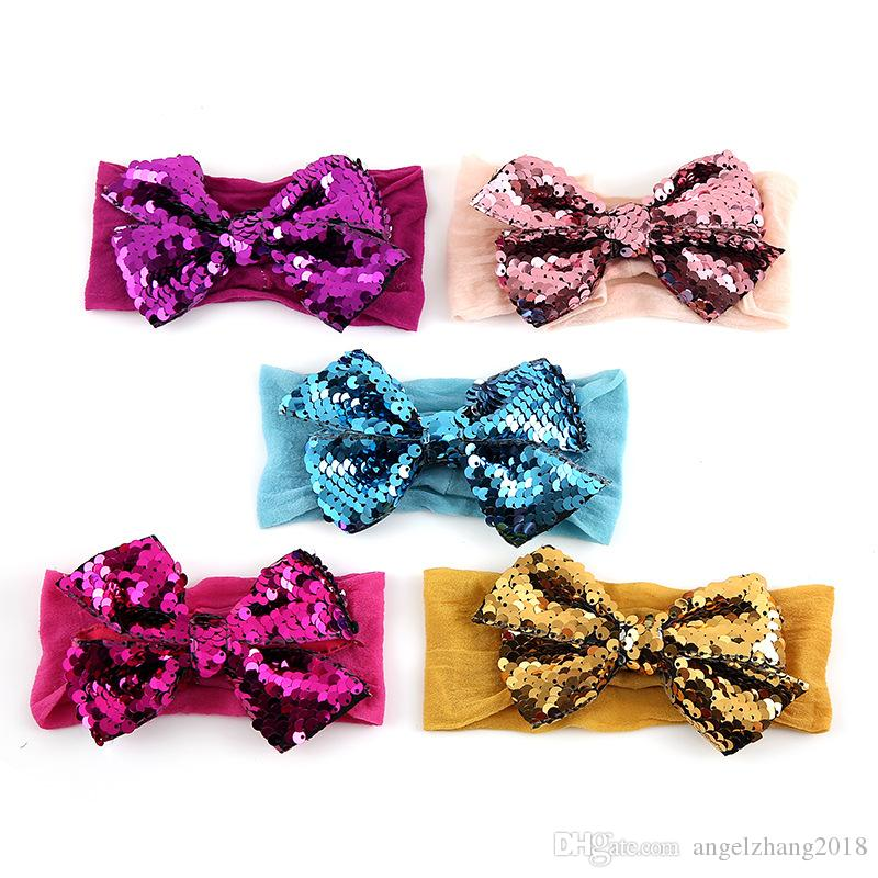 Infantile Girls Big Sequin Bow Headbands For Kids Hair Band Large Bowknot Glitter Hair Bow Hair Accessories