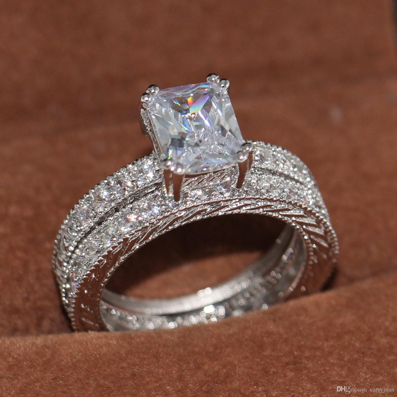 Elegant Women Jewelry 18K Gold Filled  White Topaz Wedding  Ring Set Size 5-10