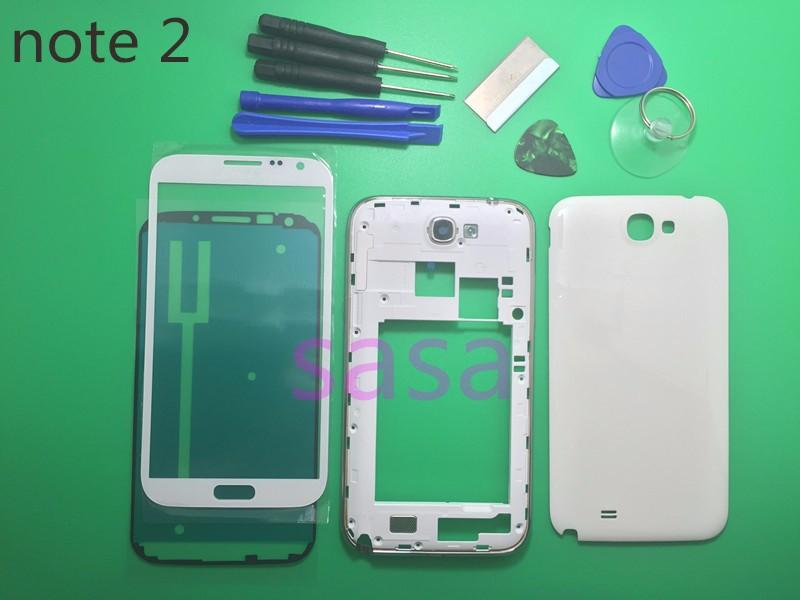 Original Full Housing Case Middle Frame+Battery Back Cover+Outer Screen Glass Lens For Samsung Galaxy note 2 II N7100+Tools
