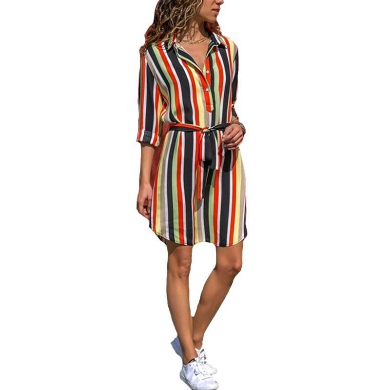 Женщины Лето Полосатый Рубашка Dress Дамы Повседневная С Длинным Рукавом Свободные Пляжные Платья 2018 Осень Мода Печати Платье Партии Vestido