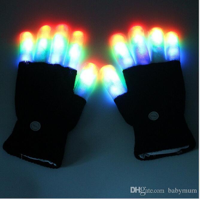 7 modèles gants éclairés réglable dirigés barre de groupe de jouets KTV accessoires rave concert gant magique coloré allumèrent novely Gant en tricot