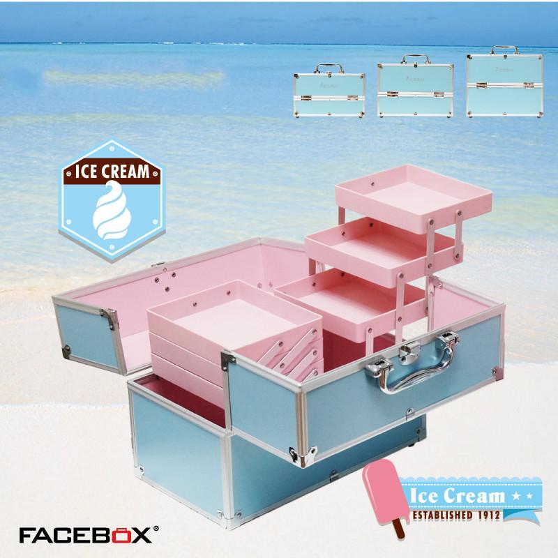 Facebox Caja de belleza colorida con bandeja Estuche de tren de maquillaje de aluminio Negro, rosado, azul púrpura